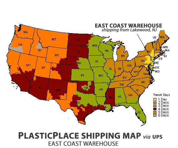 PlasticPlace shipping map from East Coast Warehouse