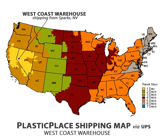 PlasticPlace shipping map from West Coast Warehouse